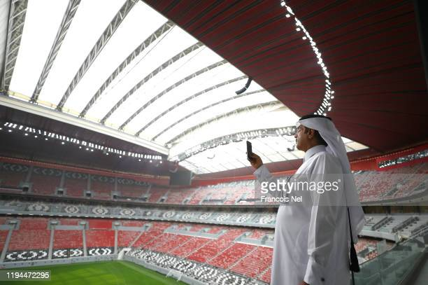General view during a stadium tour ahead of the FIFA World Cup Qatar 2022 at Al Bayt Stadium on December 17, 2019 in Doha, Qatar.