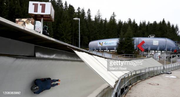 General view during a training run for the Women's Skeleton during day 4 of the BMW IBSF World Championships Altenberg 2020 on February 24, 2020 in...