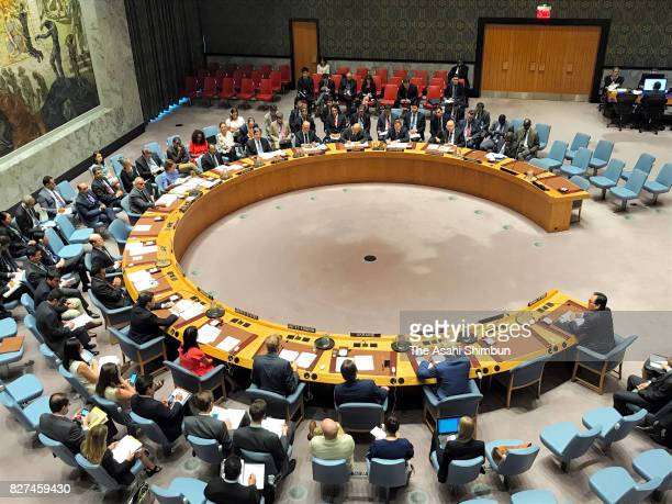 A general view during a United Nations Security Council meeting on a new sanctions resolution over North Korea on August 5 2017 in New York City