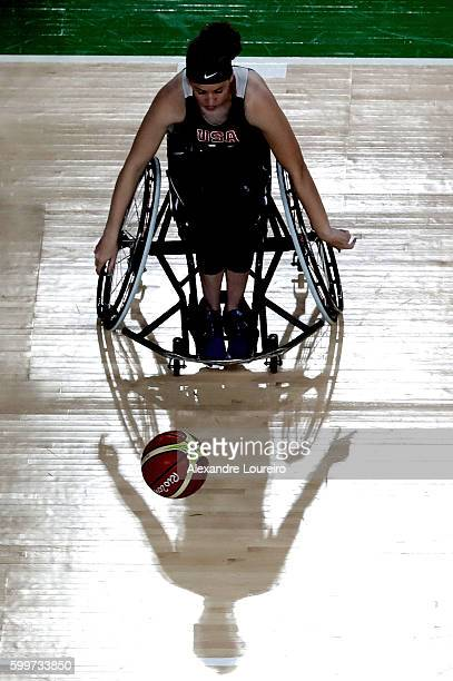 General view during a Wheelchair Basketball training session at the Olympic Arena ahead of the 2016 Paralympic Games on September 6, 2016 in Rio de...