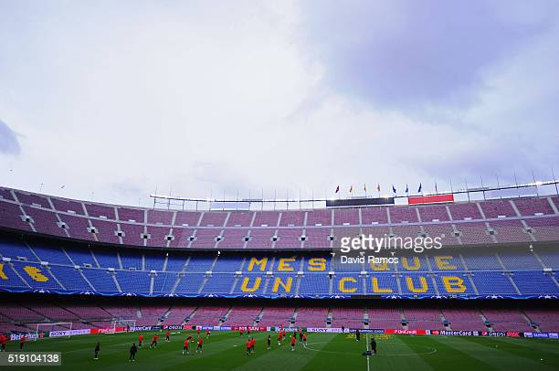 A general view during an Atletico Madrid training session ahead of their UEFA Champions League quarter final first leg match against Barcelona at...