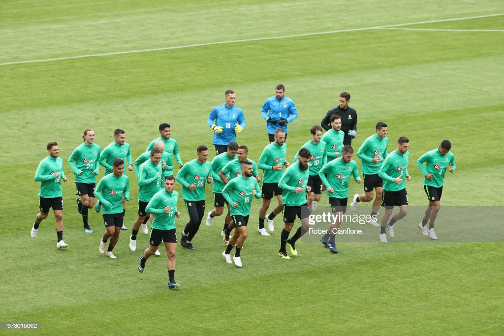 A general view during an Australia Socceroos training session ahead of the FIFA World Cup 2018at Stadium Trudovye Rezervy on June 13, 2018 in Kazan, Russia.