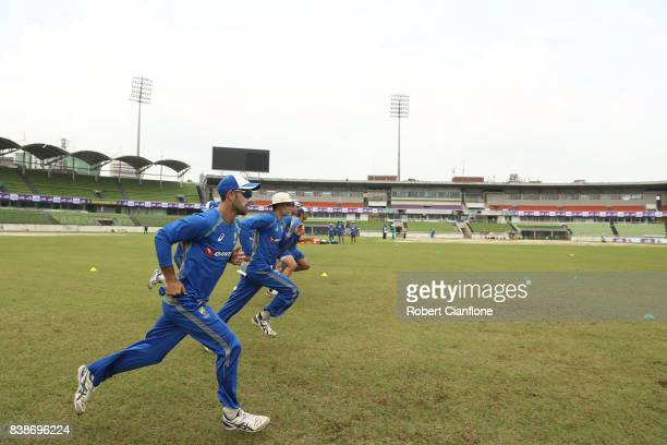 A general view during an Australian Test team nets session at SherE Bangla National Cricket Stadium on August 25 2017 in Dhaka Bangladesh