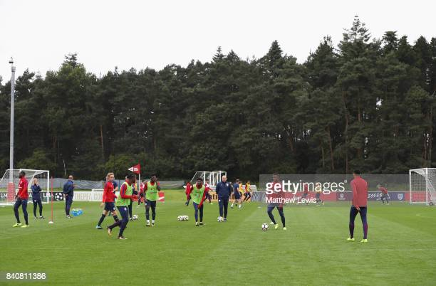 A general view during an England Under 21 training session at St George's Park on August 30 2017 in BurtonuponTrent England