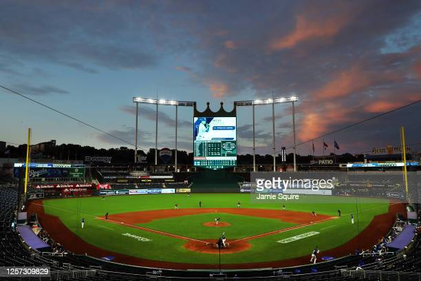 General view during an exhibition game between the Houston Astros and the Kansas City Royals at Kauffman Stadium on July 20, 2020 in Kansas City,...