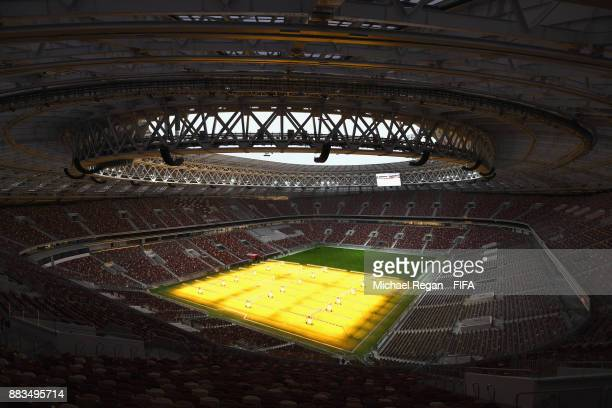 A general view during an official media tour of the Luzhniki Stadium on December 1 2017 in Moscow Russia