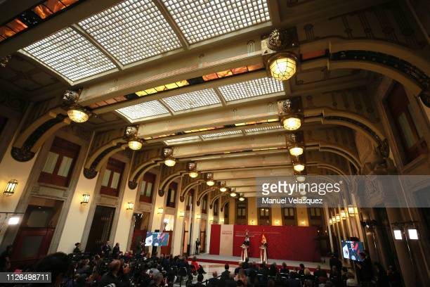 General view during an Official visit of Pedro Sánchez Pérez-Castejón Prime Minister of Spain and members of his cabinet at Palacio Nacional on...