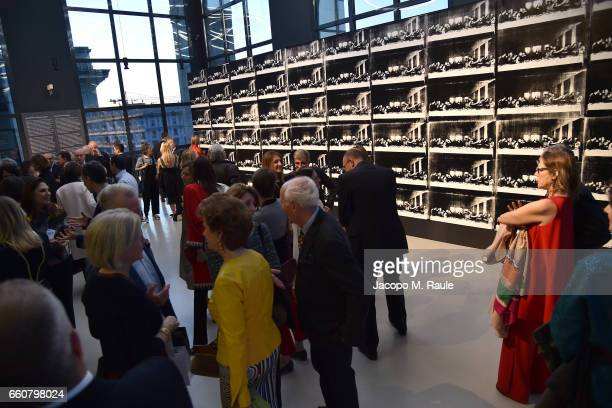 General view during Andy Warhol Sixty Last Suppers exhibition private view and dinner party hosted by Gagosian Gallery at Museo del 900 on March 29...