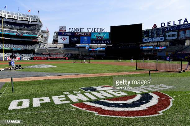 A general view during batting practice before the game between the New York Yankees and the Baltimore Orioles during Opening Day at Yankee Stadium on...