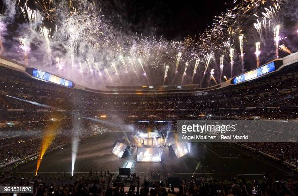 A general view during celebrations of Real Madrid at the Santiago Bernabeu stadium following their victory last night in Kiev in the UEFA Champions...