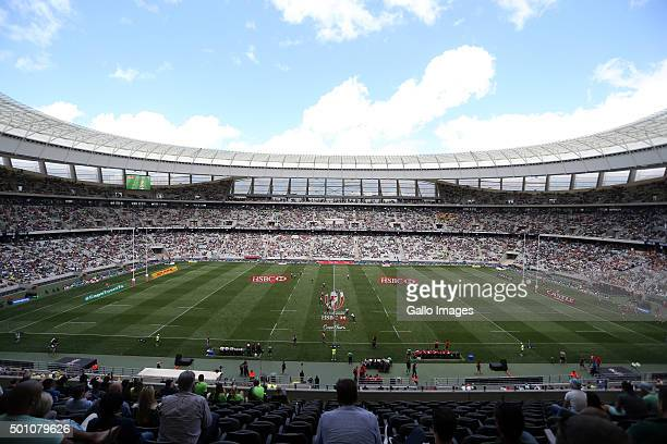 General view during day 1 of the HSBC Cape Town Sevens in the game between England and Kenya at Cape Town Stadium on December 12 2015 in Cape Town...