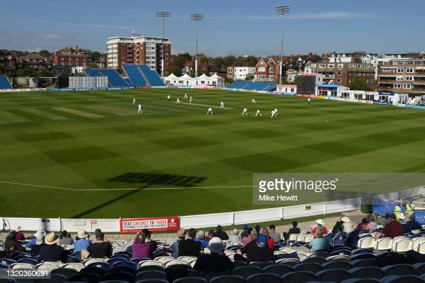 General view during Day 1 of the LV= Insurance County Championship match between Sussex and Northamptonshire at The 1st Central County Ground on May...