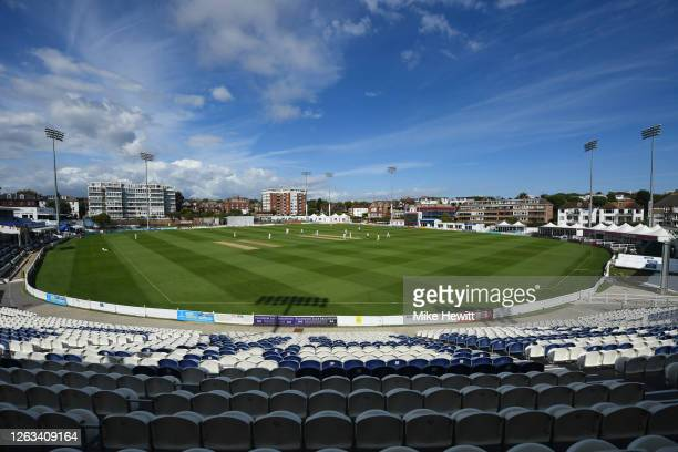 General view during Day 2 of the Bob Willis Trophy match between Sussex and Hampshire at The 1st Central County Ground on August 02, 2020 in Hove,...