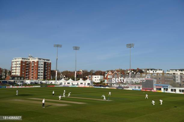 General view during day 2 of the LV= Insurance County Championship match between Sussex and Yorkshire at The 1st Central County Ground on April 23,...