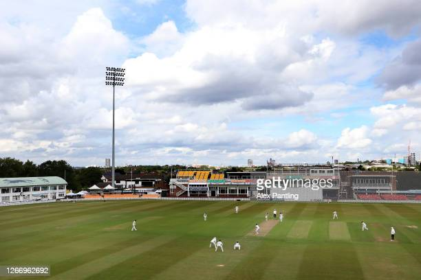 General view during day four of the Bob Willis Trophy between Leicestershire and Durham at the Fischer County Ground on August 18, 2020 in Leicester,...