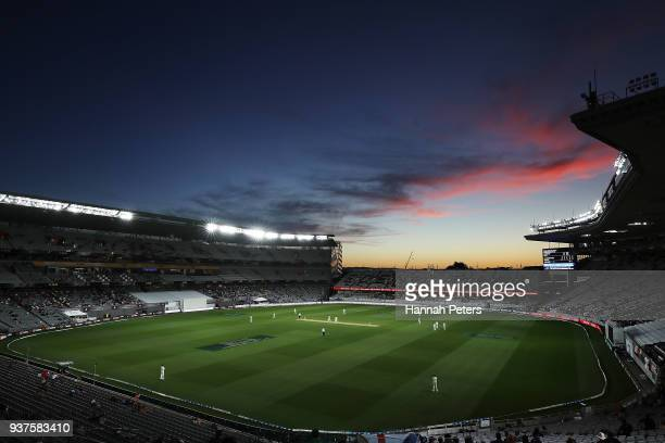 A general view during day four of the First Test match between New Zealand and England at Eden Park on March 25 2018 in Auckland New Zealand