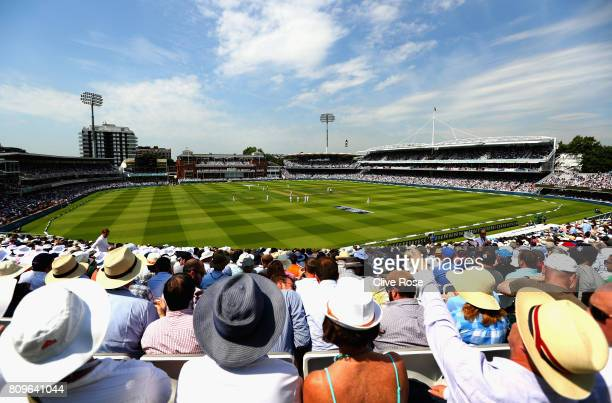 A general view during day one of the 1st Investec Test match between England and South Africa at Lord's Cricket Ground on July 6 2017 in London...