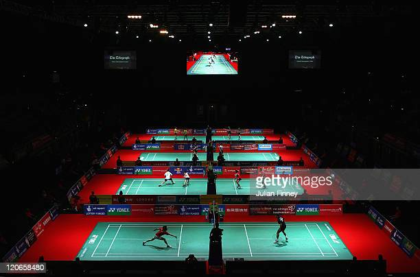 A general view during day one of the BWF World Badminton Championships and LOCOG Test Event for London 2012 at Wembley Arena on August 8 2011 in...