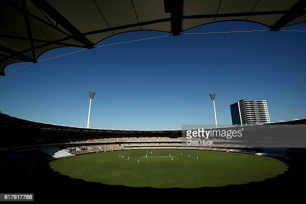 General view during day one of the Sheffield Shield match between Queensland Bulls and New South Wales Blues at The Gabba on October 25 2016 in...
