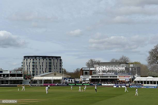 A general view during day one of the Specsavers County Championship match between Essex and Gloucestershire at the Ford County Ground on April 10...