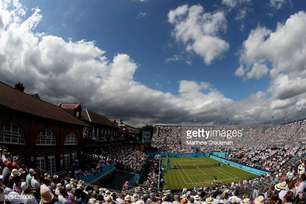 Gilles Muller in action during FeverTree Championships 2nd Round match between Frances Tiafoe against Leonardo Mayer at The Queen's Club London on 20...