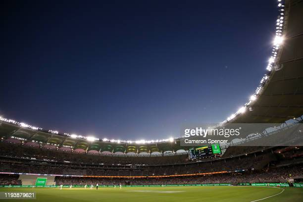General view during day three of the First Test match in the series between Australia and New Zealand at Optus Stadium on December 14, 2019 in Perth,...