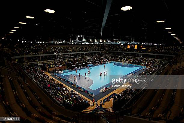 General view during Day Three of the London Handball Cup during the LOCOG Test Event for London 2012 at Handball Arena on November 25, 2011 in...