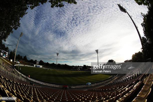 A general view during day two of the Second Test Match between New Zealand and the West Indies at Seddon Park on December 10 2017 in Hamilton New...