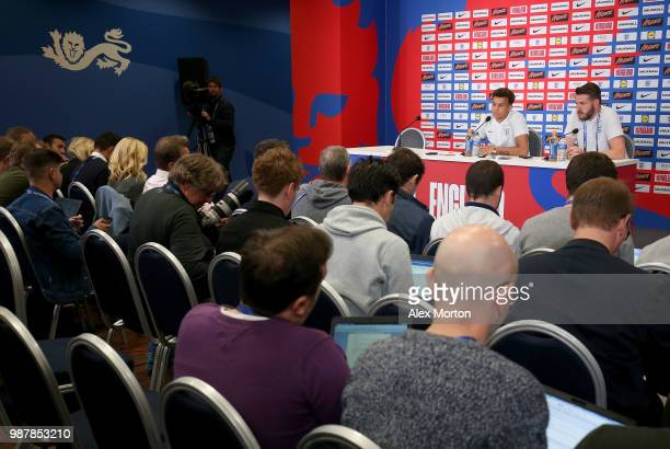 A general view during Dele Alli's press conference at Spartak Zelenogorsk Stadium on June 30 2018 in Saint Petersburg Russia