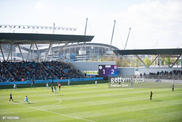 A general view during during the UEFA Women's Champions League semi final match between Manchester City Women and Olympique Lyonnais Ladies at The...