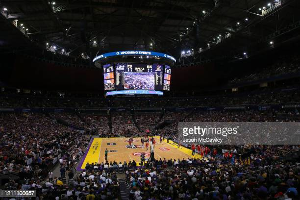 General view during game one of the NBL Grand Final series between the Sydney Kings and the Perth WIldcats at Qudos Bank Arena on March 08, 2020 in...