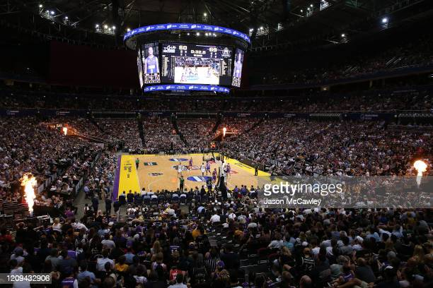 General view during game one of the NBL Semi Final Series between the Sydney Kings and Melbourne United at Qudos Bank Arena on February 29, 2020 in...
