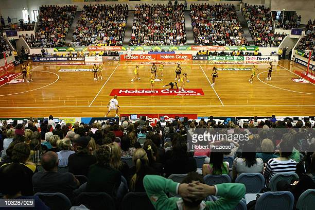 General view during game one of the Netball series between the Australian Diamonds and the Jamaican Sunshine Girls at State Netball Hockey Centre on...