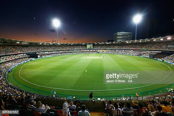 General view during game one of the One Day International series between Australia and Pakistan at The Gabba on January 13, 2017 in Brisbane,...