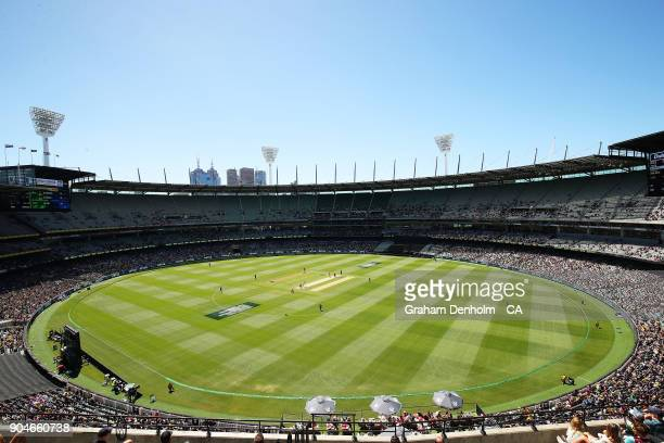 A general view during game one of the One Day International Series between Australia and England at Melbourne Cricket Ground on January 14 2018 in...