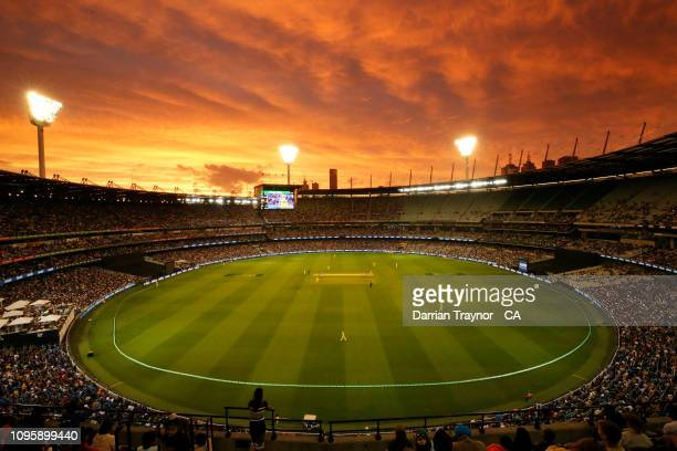 General view during game three of the One Day International series between Australia and India at Melbourne Cricket Ground on January 18, 2019 in...