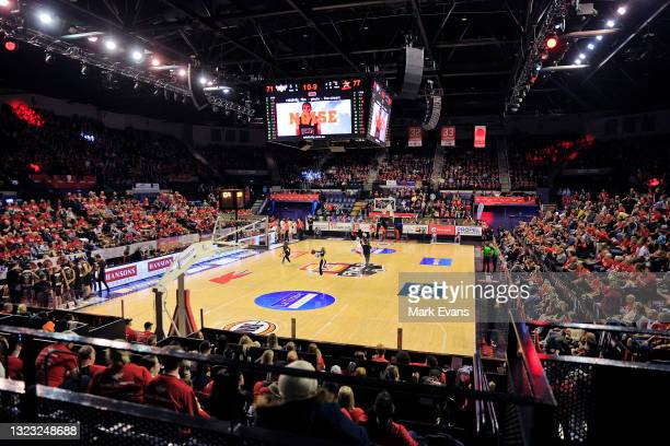 General view during game two of the NBL Semi-Final Series between the Illawarra Hawks and the Perth Wildcats at WIN Entertainment Centre, on June 12...