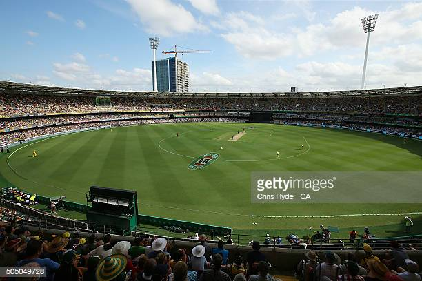 General view during game two of the Victoria Bitter One Day International Series between Australia and India at The Gabba on January 15 2016 in...