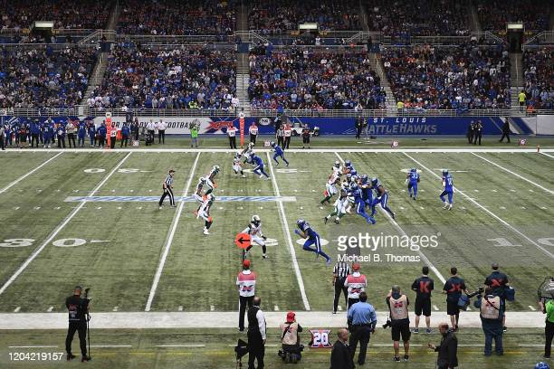 A general view during gameplay in the second quarter of a XFL game between the St Louis Battlehawks and the Seattle Dragons at the Dome at America's...