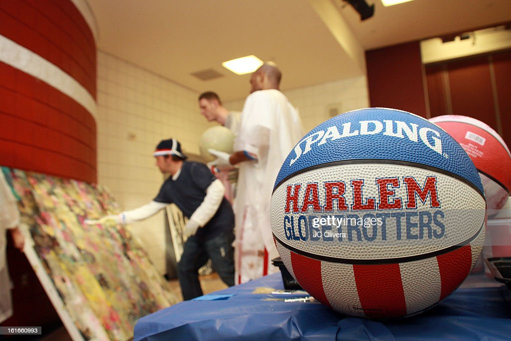 General View during Harlem Globetrotters and Pop Surrealist Artist Daniel Maltzman unveiling of 'The Art & Soul Of Basketball' at Pan Pacific Recreation Complex on February 13, 2013 in Los Angeles, California.