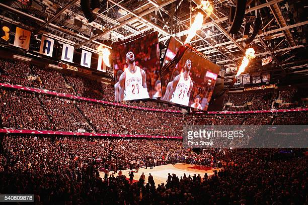 A general view during introductions of Game 6 of the 2016 NBA Finals between the Cleveland Cavaliers and the Golden State Warriors at Quicken Loans...