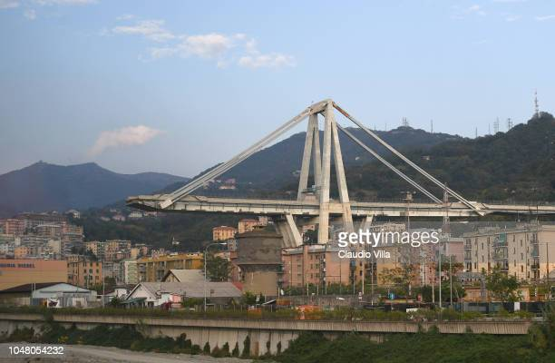 A general view during Italian players visit to the collapsed Ponte Morandi bridge on October 9 2018 in Genoa Italy