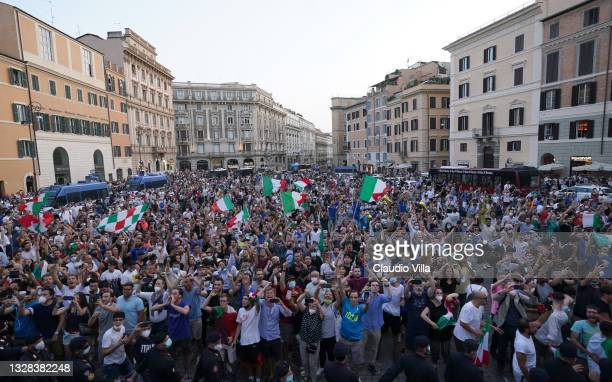 General view during Italy's national men's football team open-top bus victory parade, a day after Italy won the UEFA EURO 2020 final against England,...