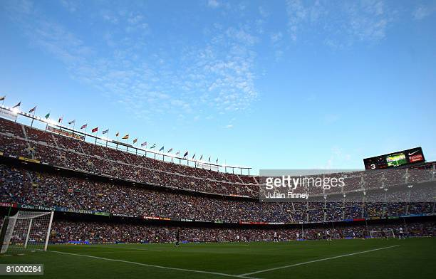 A general view during La Liga match between Barcelona and Valencia at the Camp Nou Stadium on May 4 2008 in Barcelona Spain