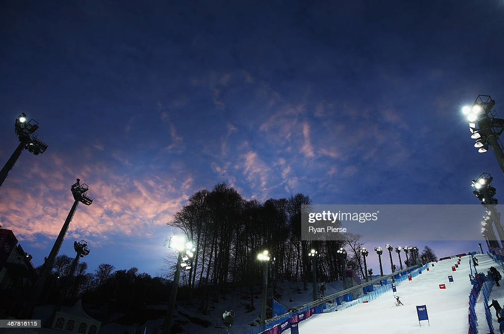 A general view during Ladies' Moguls Qualification during day 1 of the Sochi 2014 Winter Olympics at Rosa Khutor Extreme Park on February 8, 2014 in Sochi, Russia.