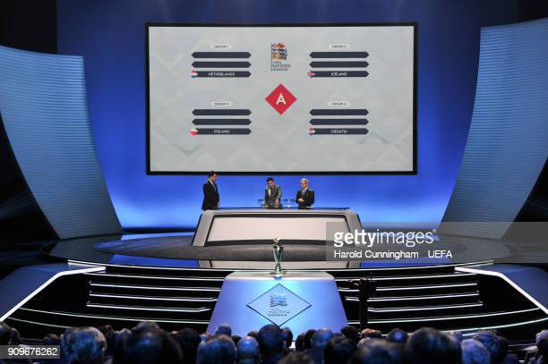 A general view during League A draw of the UEFA Nations League Draw on January 24 2018 in Lausanne Switzerland