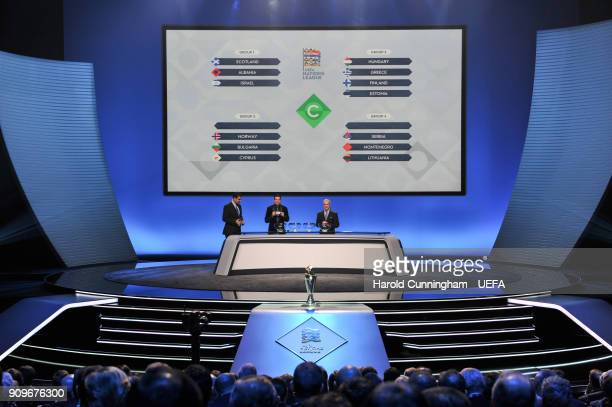 A general view during League C draw of the UEFA Nations League Draw on January 24 2018 in Lausanne Switzerland