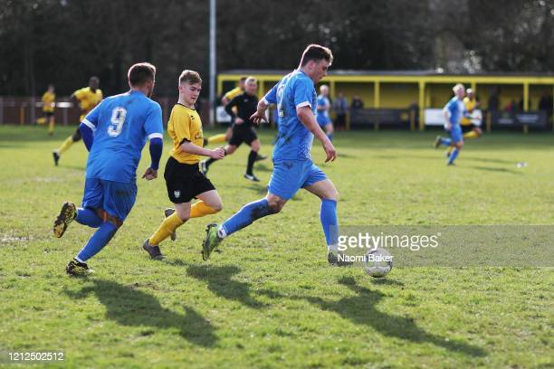 General view during match action as teams compete for the ball during the Wessex League Premier Division match between Hamble FC and Amesbury Town FC...