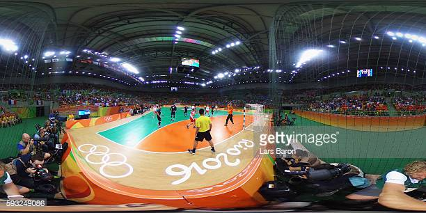 General view during Men's Gold Medal Match between Denmark and France on Day 16 of the Rio 2016 Olympic Games at Future Arena on August 21 2016 in...