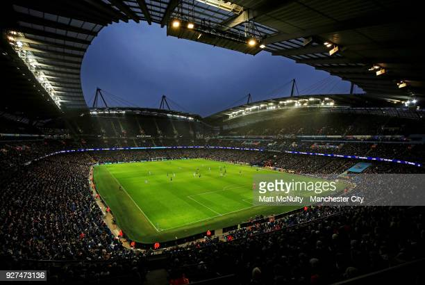 A general view during play at the Premier League match between Manchester City and Chelsea at Etihad Stadium on March 4 2018 in Manchester England